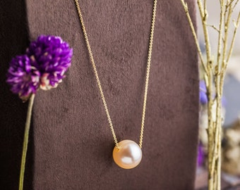 Warm Peach Pearl Pendant set in 14K Yellow Gold Long Necklace, Culture Pearl Pendant and Gold Necklace, Zehava Jewelry