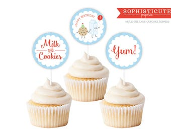 Printable  Cupcake Toppers - Milk and Cookies Party Favor Tags - Bake Shop Printable