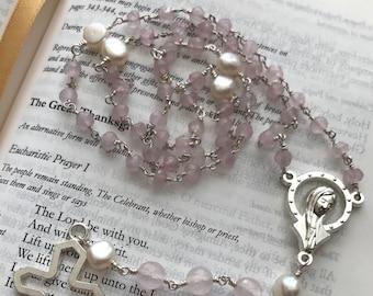 Rose Quartz Rosary, First Communion Rosary, Wedding Rosaty, Confirmation Rosary