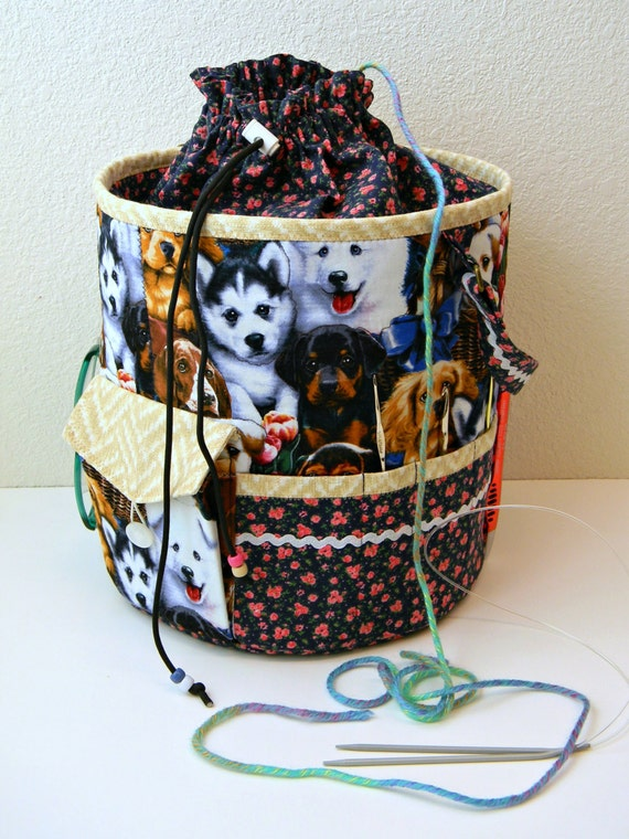 Knitting Tote Bag Organizer : Knitting project bag tote large crochet bucket with pocket
