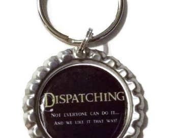 Dispatcher Keychain, 911 Dispatcher, Dispatch Gift, Thin Gold Line, Thin Yellow Line, Dispatcher, 911 Dispatch Gift, First Responder, Gifts