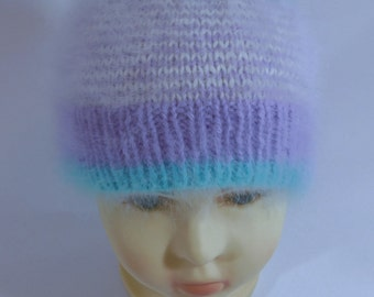 Hand Knitted Baby Girl Hat, KFGK Original Design, 100% Combed French Angora!
