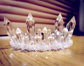 Frosted Goddess Crown** Crystal Crown. Quartz Crown. Goddess Bride. Bride Crown. Coachella Crown. Music Festival crown. Crystal tiara.
