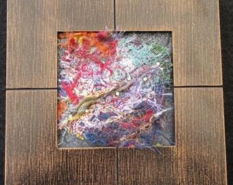 """Miniature Framed Fiber Art, Abstract Art Quilt, Shelf Art, Modern Art Quilt, Home Decor, Gift for Mom, 7"""" x 7"""""""