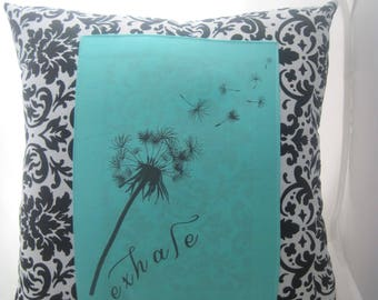 exhale dandelion pillow, wedding gifts for the bride, black and white pillow, graduation gifts, encouragement gift