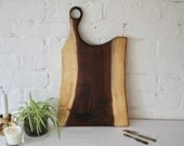 Walnut live edge wood serving paddle, cheese board, serving tray, kitchen decor- handmade, salvaged, reclaimed