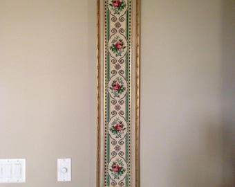 Framed Floral Needlepoint/Large needlepoint wall art/Needlepoint/Vintage framed pink rose floral needlepoint