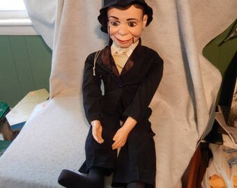 1968 Juro Novelty Co CHARLIE McCarthy Ventriloquist Dummy Doll w/Monicle Free Shipping!