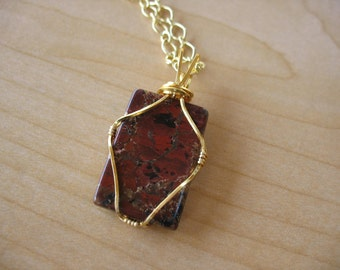 20% off! Wire-Wrapped Red Jasper Pendant with Gold Chain