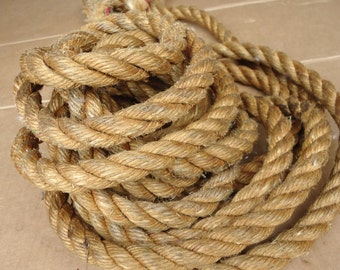 hemp rope vintage,barn pulley block tackle rope,primitive decor nautical craft.25 feet
