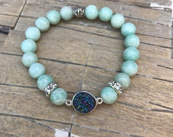 Mint Amazonite & Druzy Stretch Bracelet