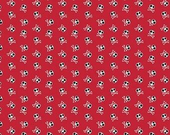 Blackbeard's Pirates - Blackbeard Skulls Fabric - Red - Sold by the 1/2 Yard