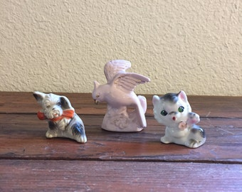 Vintage Lot of Ceramic Animal Figurines / Dog / Cat / Bird / Instant Collection / Made in Japan