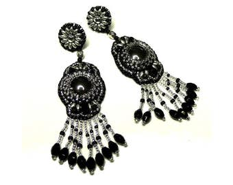 Earrings black and silver embroidery beads