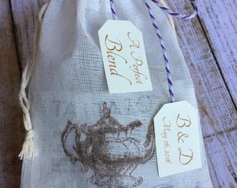 8 ~ Wedding Tea Favors, Stamped Muslin Bag Favors, Customized Favors