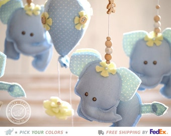 Elephant Mobile for Boys, Baby Boy Mobile, Baby Boy Decor, Nursery Mobile Boy, Baby Mobile, Felt & Linen //FREE 2-day DELIVERY WORLDWIDE//
