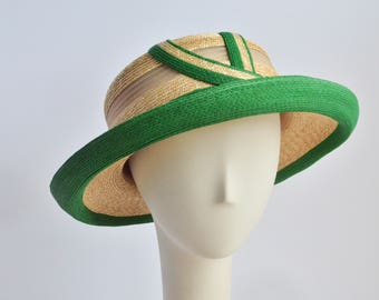 823- Natural Straw and Swiss Green Straw Sun Hat