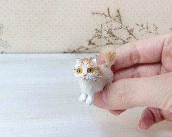 Orange scottish fold, Cat miniature, Kitten miniature, Miniature cat dolls, Dollhouse, cat lover gifts