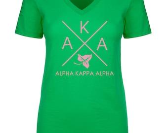 Alpha Kappa Alpha Infinity V-Neck Shirt - Soft Pink Print (unless noted otherwise)