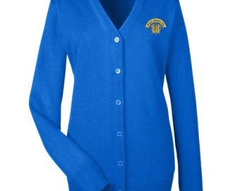 Sigma Gamma Rho Cardigan Sweater with Crest