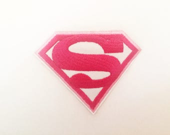Superman Superwoman Pow Pink Logo Sew or IRON ON PATCHES Girl Lady Superhero Comic Bag Hat Clothing Patch