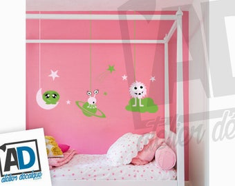 Wall Sticker R-001 - Choice of (3) decorative monster with (3) object of the sky for girl