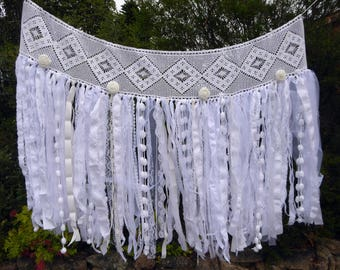 Shabby chic white fabric garland, wedding banner, lace banner, tattered photo backdrop, window swag