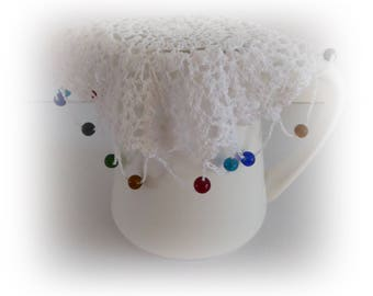 Vintage white crochet jug cover with beads