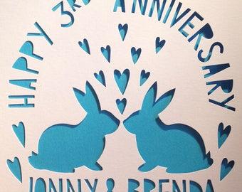 Anniversary Card, Easter Card, Bunnies Card, Rabbits Card,            Bunny Card, Rabbit Card, Kissing Rabbits