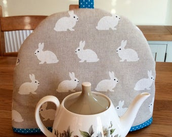 Tea Cosy in bunny rabbit fabric for a small tea pot, small tea cozy