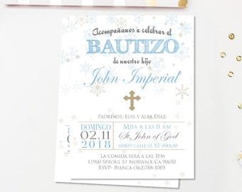 invitaciones de bautizo, INVIERNO, invitacion bautizo azul y plata, bautizo chico, recuerdos de bautizo, cristianismo, tarjetas,