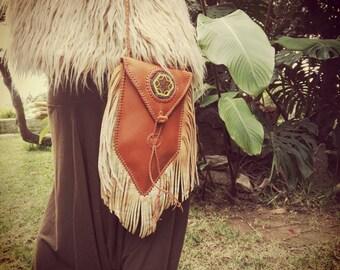 BAG LEATHER FRINGES, hippie, boho, tribal