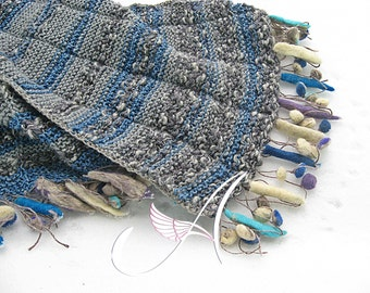 """Handmade knitted scarf """"Boho style""""/ felted elements / gift for her or him/ wool /shawl/wrap / OOAK"""