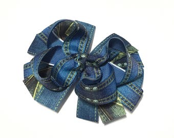 "5"" Blue Denim Bow, Blue Jeans Hair Bow, Denim Hairbow, Denim Hair bow, Blue Jeans Hairbow, Jeans Hair clip, Denim Hair clip"