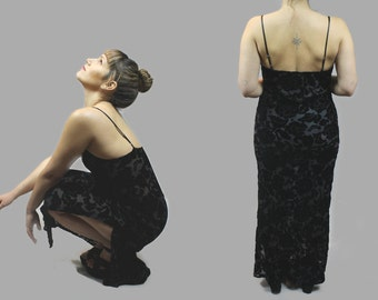 Vintage 1990s Velvety Spaghetti Strap Long Lace Little Black Dress