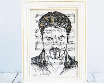 George Michael portrait, Framed book art,  George Michael framed poster, Dictionary print, George Michael fan gift, Home decor