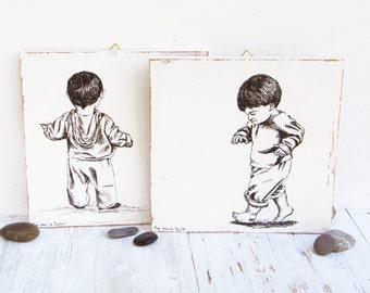 Set of 2 prints, Rustic wood signs, Gemini art, Nursery decor, wood wall decor, Kids room decor, Woodland nursery decor, Gift for kids