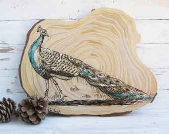 Woodland animals, Peacock print, Peacock Wood picture, Rustic wall art, Country home decor, Wood sign, Wood slice art, Farmhouse decor