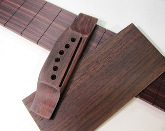 Slotted Guitar Fretboard, Bridge & Head veneer Indian Rosewood USA Luthier Made (Free Shipping in the USA)
