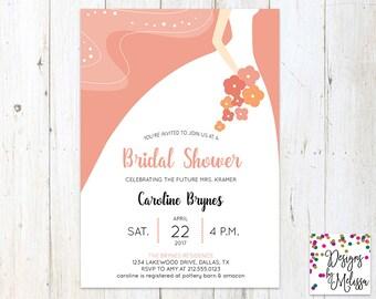 Bridal Shower Invitation - Bridal Gown Invitation - Coral Bridal Shower - Wedding Shower - Classic Bridal Invitation - DIGITAL FILE