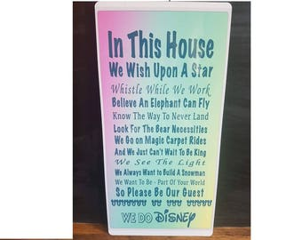 In This House We Do Disney Metal Wall Hanging-Disney Quotes-Disney Family Signs.