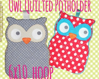 Quilted owl potholder - 6x10 hoop - In The Hoop - Machine Embroidery Design File, digital download
