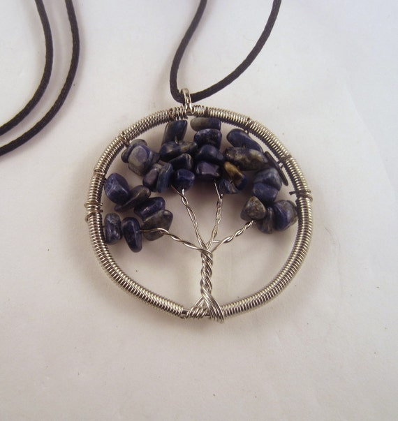 Tree of Life  Necklace Sodalite  Natural Crystal Pendant, Stone Jewelry