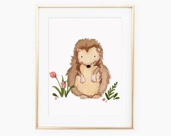 Water color Hedgehog Nursery Art Print