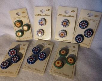 Set of 19 Vintage Floral Buttons on Cards