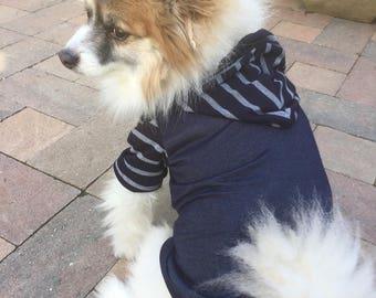 Navy Blue Tee-Shirt Hoodie, Pet Shirt for Small Breeds