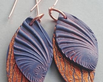 Purple and copper polymer clay earrings