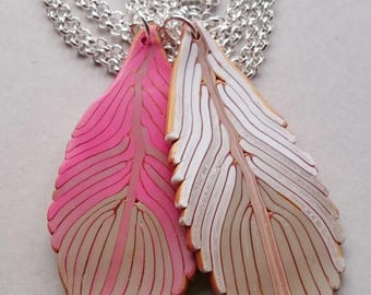 Pink Polymer Clay Feathers Necklace (#0005)