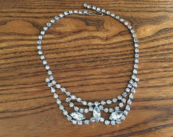 Vintage Clear Crystal Rhinestone Choker Necklace 1168