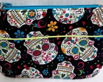Sugar Skulls Fabric Zipper Pouch/Cosmetics Bag/Clutch - Lined.